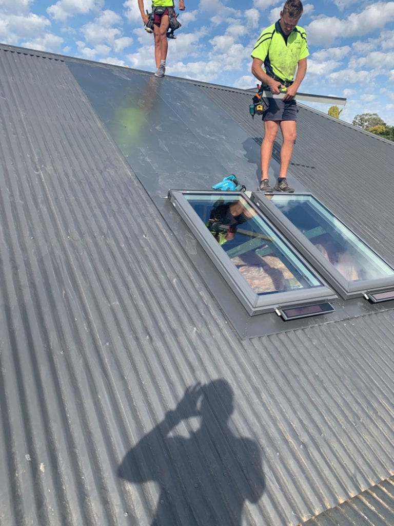 2 x Vlux, solar opening skylights installed on this Albury home. Roof colour is Monument.